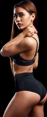 woman wearing black two piece
